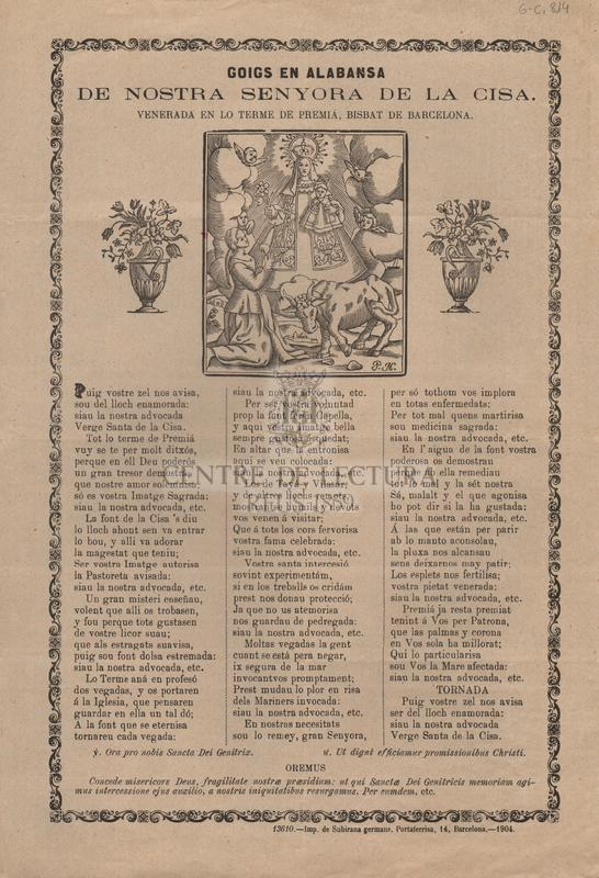 Goigs en alabansa de Nostra Senyora de la Cisa, venerada en el terme de Premiá, Bisbat de Barcelona