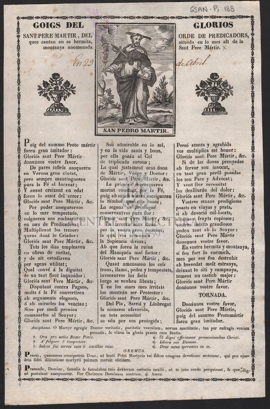 Goigs del glorios Sant Pere martir, del ordre de predicadors ques cantan en sa hermita situada en lo mes alt de la montanya anomenada Sant Pere Mártir