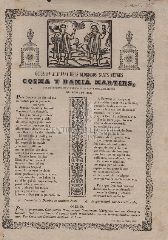 Goigs en alabansa dels gloriosos Sants metges Cosma y Damiá martirs, que se veneran en la parróquia de Santa Maria de Alpens del Bisbát de Vich