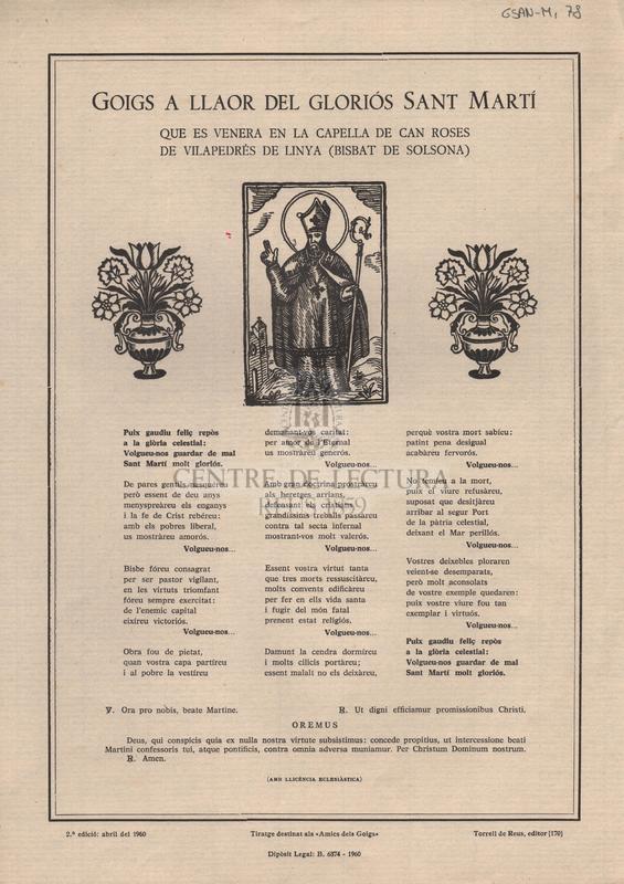 Goigs a llaor del gloriós Sant Martí que es venera en la capella de Can Roses de Vilapedrés de Linya (Bisbat de Solsona)
