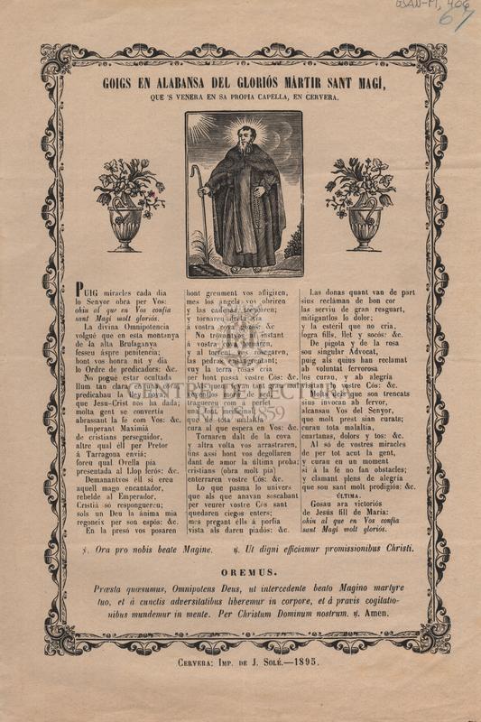 Goigs en alabansa del gloriós martir Sant Magí, que's venera en sa propia capella, en Cervera