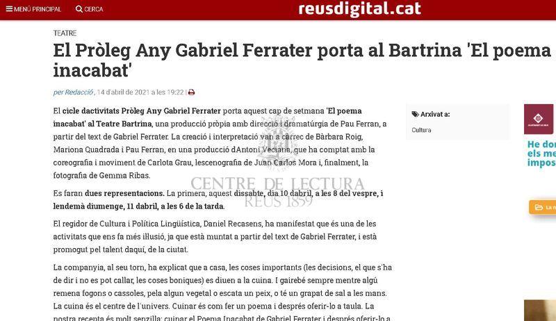 El Pròleg Any Gabriel Ferrater porta al Bartrina 'El poema inacabat'