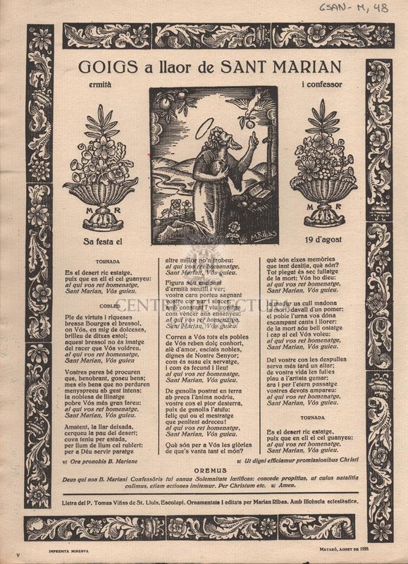 Goigs a llaor de Sant Marian i confessor