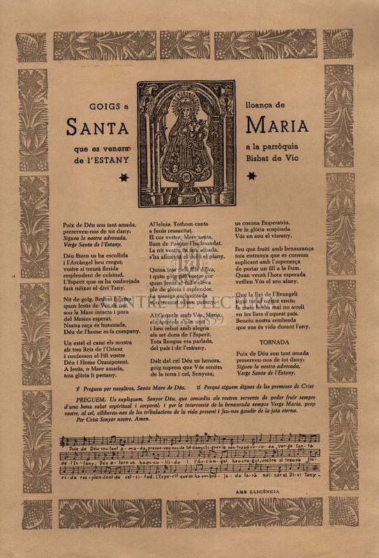 Goigs en lloança de Santa Maria que es venera a la parròquia de l'Estany Bisbat de Vic.