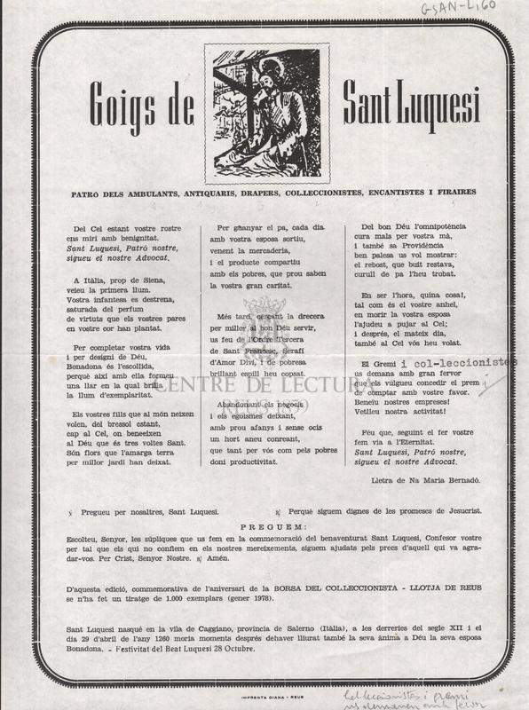 Goigs de Sant Luquesi, patro dels ambulants, antiquaris, drapers, col·leccionistes, encantistes i firaires