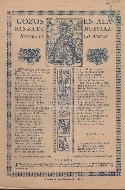 Gozos en alabanza de Nuestra Señora de las Ansias.
