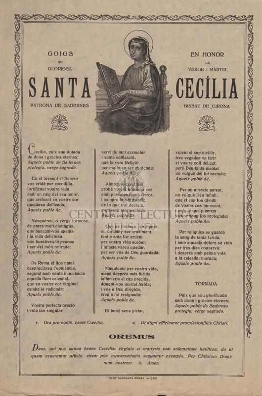 Goigs en honor de la gloriosa verge i màrtir, santa Cecília, patrona de Sadernes, bisbat de Girona