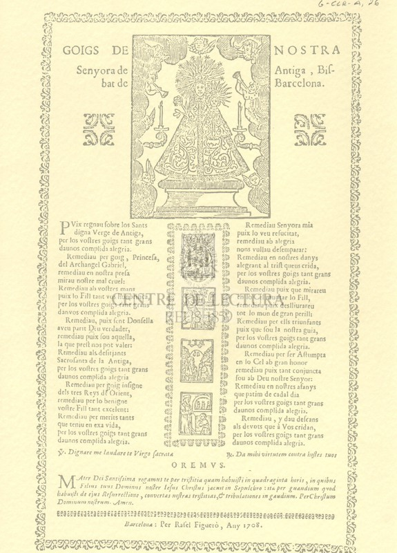 Goigs de nostra Senyora de Antiga, Bisbat de Barcelona