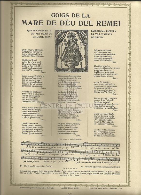 Goigs de la Mare de Déu del Remei que es venera en la parroquial església de Sant Martí de la vila d'Arenys de Munt, Bisbat de Girona