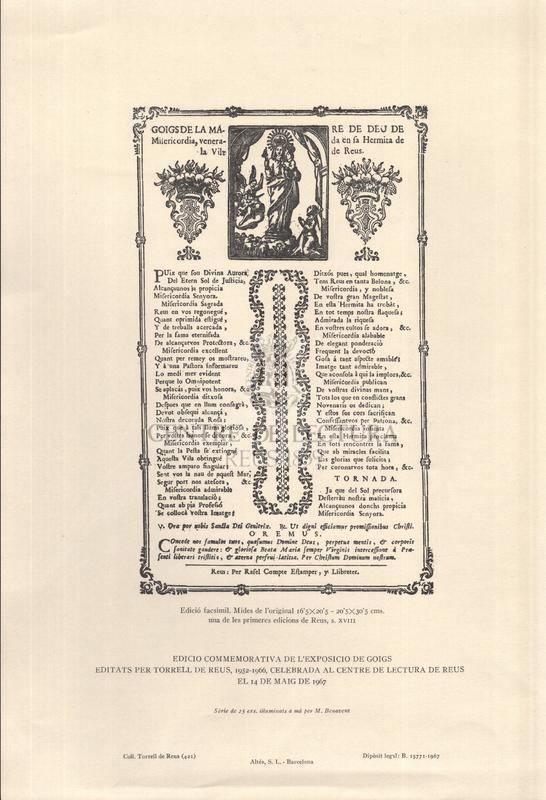 Goigs de la Mare de Deu de Misericòrdia, venerada en sa Hermita de la Vila de Reus