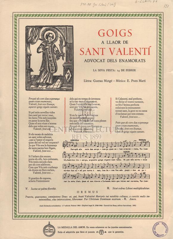 Goigs a llaor de Sant Valentí advocats dels enamorats.