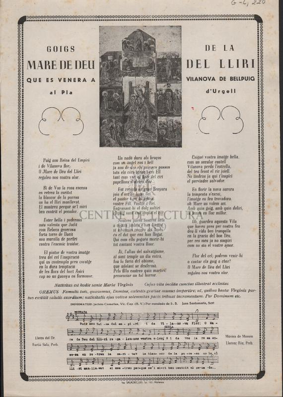 Goigs de la Mare de Deu del Lliri que es venera a Vilanova de Bellpuig al Pla d'Urgell.