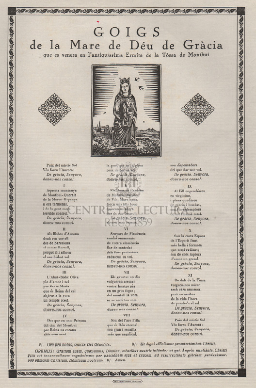 Goigs de la Mare de Déu de Gràcia que es venera en l'antiquissima Ermita de la Tòssa de Montbui
