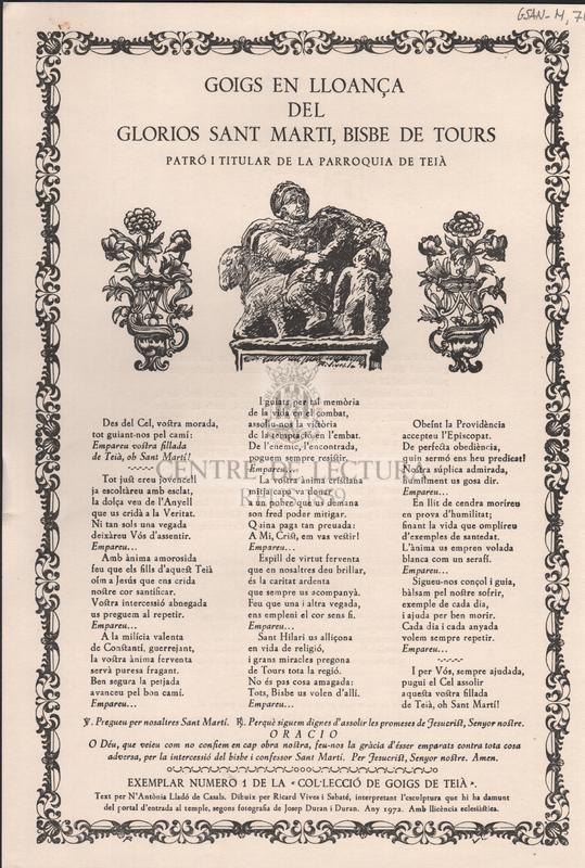 Goigs en lloança del glorios Sant Marti, Bisbe de Tours. Patró i titular de la parròquia de Teià