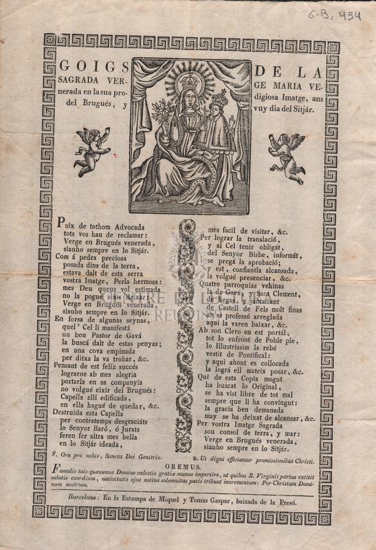 Goigs de la Sagrada Verge Maria Venerada en la sua prodigiosa Imatge, ans del Brugués, y vuy dia del Sitjár