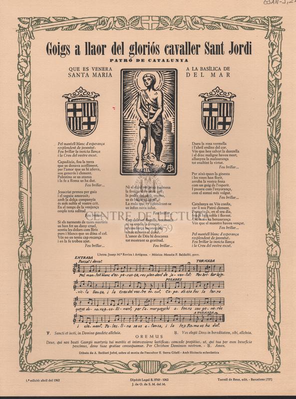 Goigs a llaor del gloriós cavaller Sant Jordi. Patró de Catalunya, que es venera a la Basílica de Santa Maria del Mar