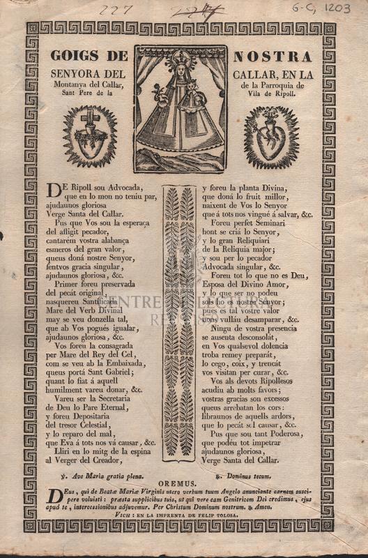 Goigs de Nostra Senyora del Callar, en la Montanya del Callar, de la Parroquia de Sant Pere de la Vila de Ripoll