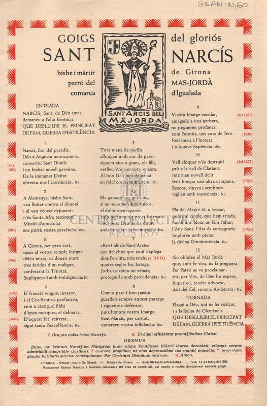 Goigs del gloriós Sant Narcís bisbe i màrtir del Mas-Jordà comarca d'Igualada