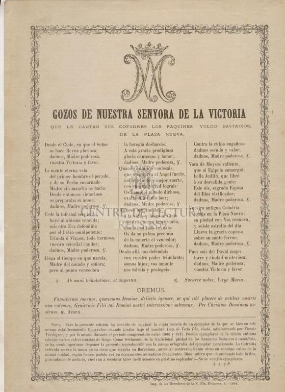 Gozos de Nuestra Senyora de la Victoria que le cantan sus cofrades los faquines, vulgo bastaixos de la Plaza Nueva
