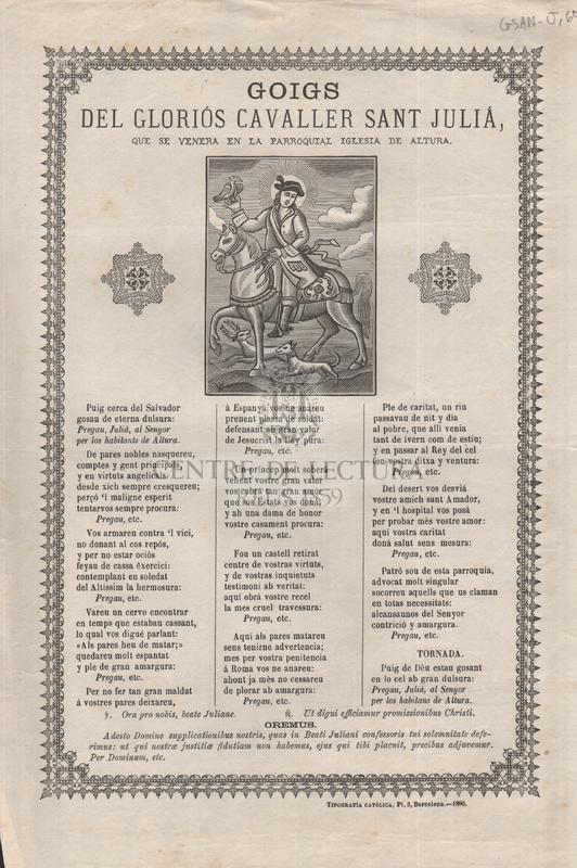 Goigs del gloriós cavaller sant Julià, que se venera en la parroquial iglesia de Altura