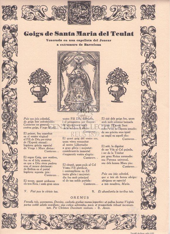 Goigs de Santa Maria del Teulat venerada en una capelleta del Joncar a extramurs de Barcelona