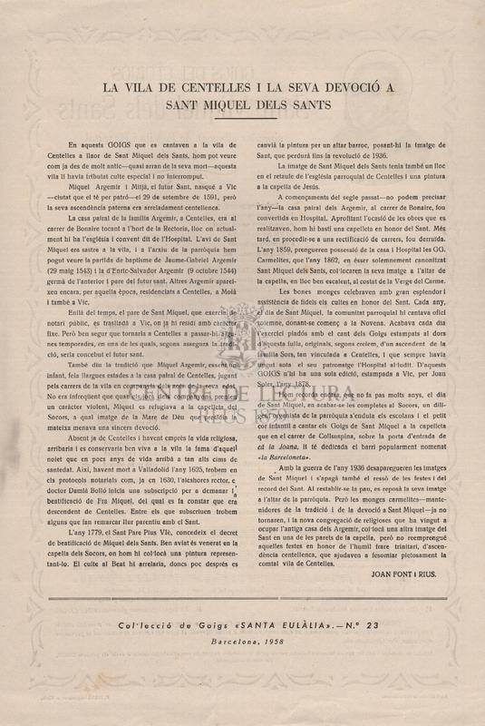 Goigs del gloriós Sant Miquel dels Sants singular advocat de la Vila i Hospital de Centelles.