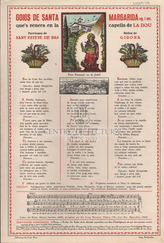 Goigs de Santa Margarida vg. i mr. que's venera en la capella de La Dou. Parròquia de Sant Esteve de Bas. Bisbat de Girona