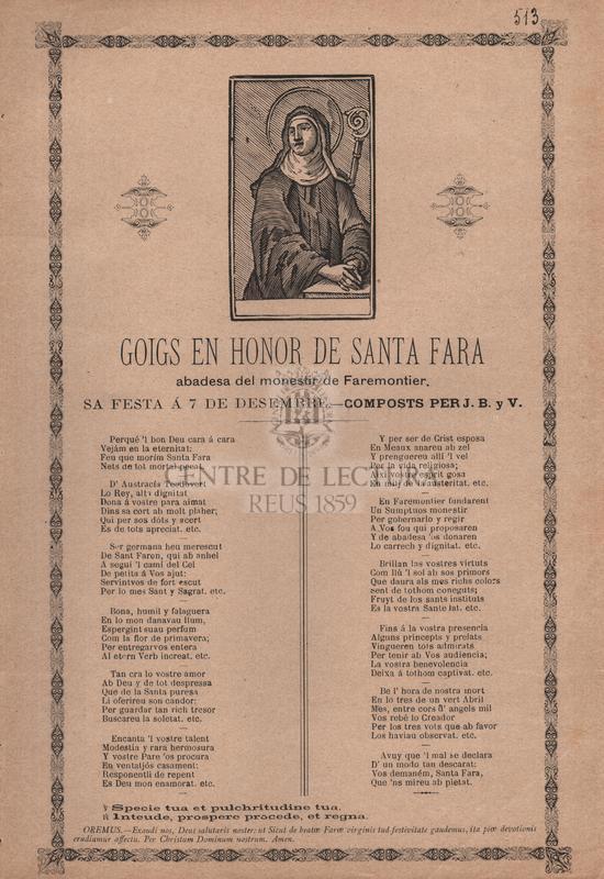 Goigs en honor de santa Fara, abadesa del monestir de Faremontier, Sa festa á 7 de desembre
