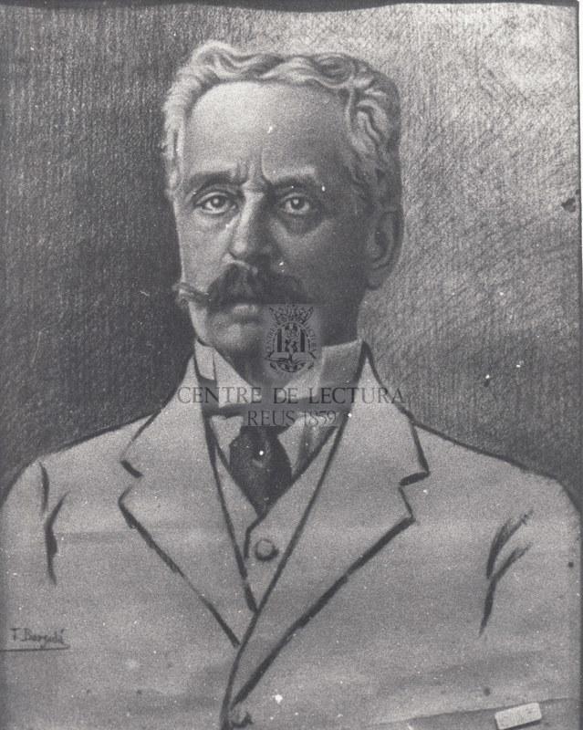 Retrat d'Eduard Toda fet per Tomàs Bergadà.