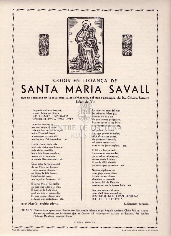 Goigs en lloança de Santa Maria Savall que es venerava en la seva capella, antica Monestir, de terme parroquial de Sta. Coloma Sassserra. Bisbat de Vic