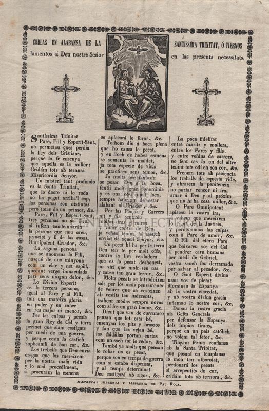 Coblas en alabansa de la Santissima Trinitat, ó tiernos lamentos á Deu nostre Señor en las presents necessitats