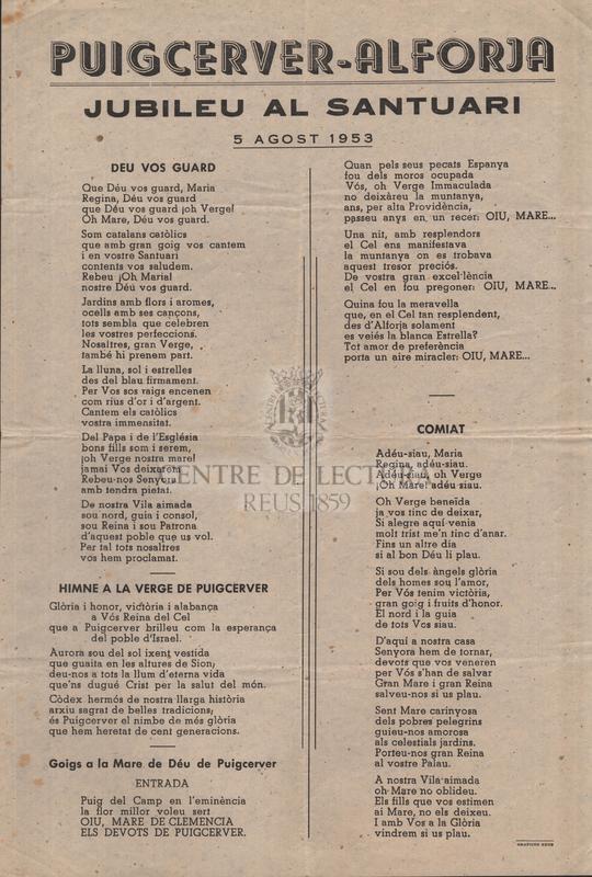 Puigcerver-Alforja : jubileu al santuari, 5 agost 1953