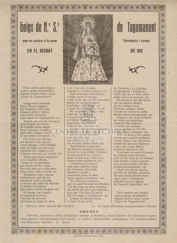 Goigs de Nª. Sª. de Tagamanent que es canten a la seva Parròquia i terme en el Bisbat de Vic