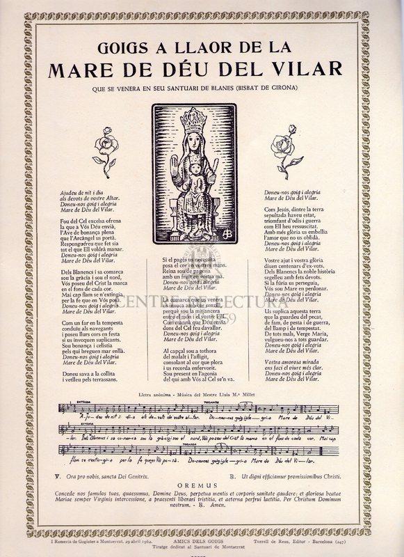 Goigs a llaor de la Mare de Déu del Vilar que se venera en seu Santuari de Blanes (Bisbat de Girona)