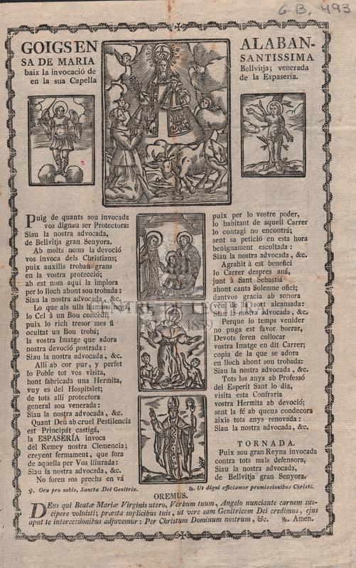 Goigs en Alabansa de Maria Santissima baix la invocació de Bellvitja; venerada en la sua Capella de la Espasería