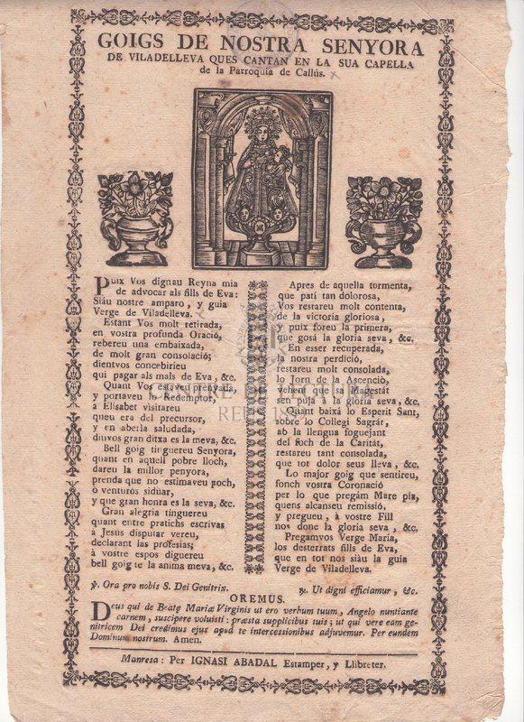 Goigs de Nostra Senyora de Viladelleva ques cantan en la sua Capella de la Parroquia de Callús