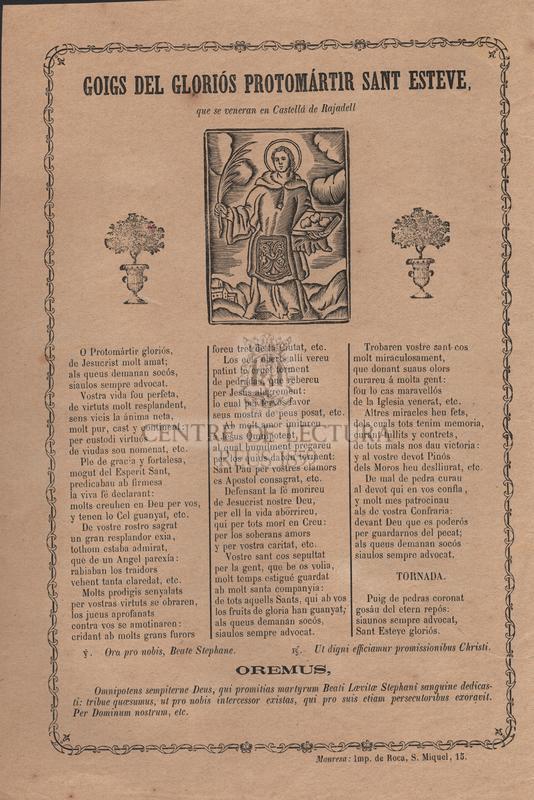 Goigs del gloriós protomártir Sant Esteve, que se veneran en Castellá de Rajadell