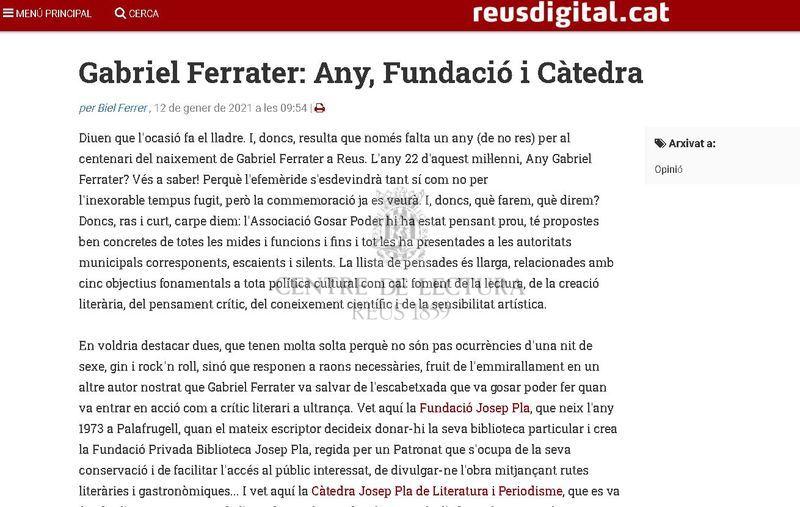 Gabriel Ferrater: Any, Fundació i Càtedra
