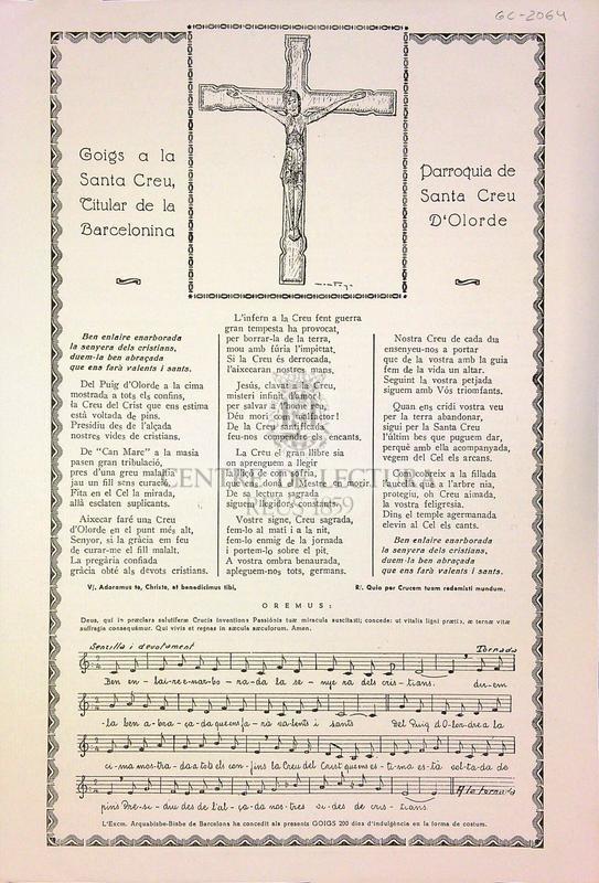 Goigs a la Santa Creu, titular de la Barcelonina parròquia de Santa Creu d'Olorde