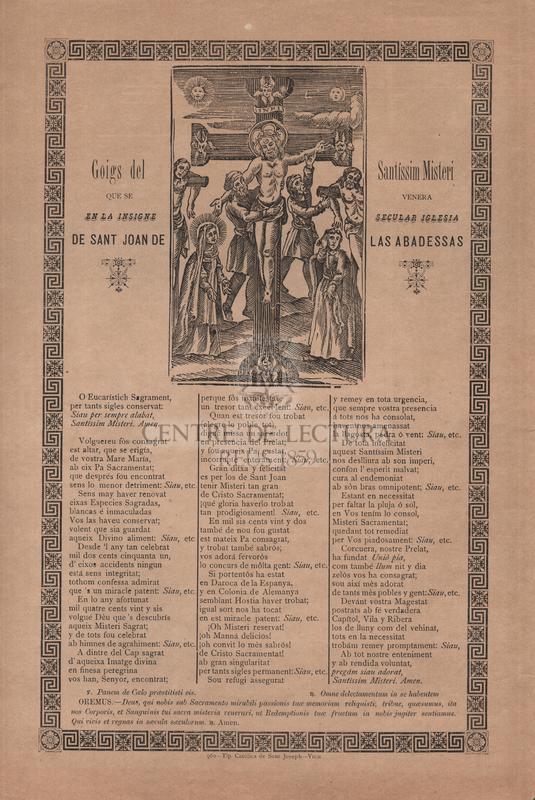 Goigs del Santíssim Misteri que se venera en la insigne secular iglesia de Sant Joan de las Abadessas