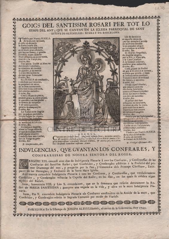 Goigs del Santissim Rosari per tot lo temps del any que se cantan en la Iglesia Parroquial de Sant Esteve de Olzinelles : Bisbat de Barcelona