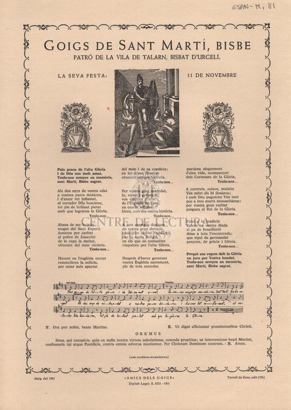 Goigs de Sant Martí, Bisbe patró de la Vila de Talarn, Bisbat d'Urgell. La seva festa: 11 de novembre