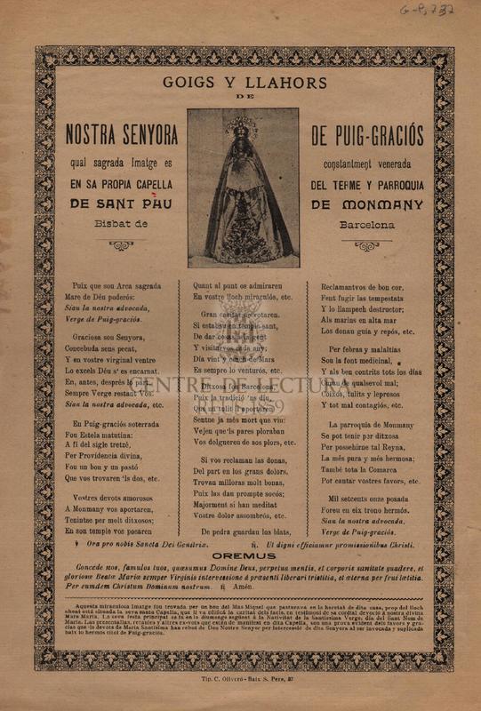 Goigs y llahors de Nostra Senyora de Puig-Graciós qual sagrada Imatge es constantment venerada en sa propia capella del terme y parroquia de sant Pau de Monmany Bisbat de Barcelona.