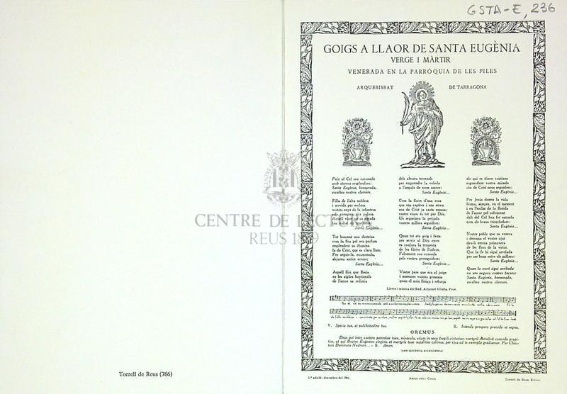 Goigs a llaor de Santa Eugènia verge i màrtir venerada en la parròquia de les Piles arquebisbat de Tarragona