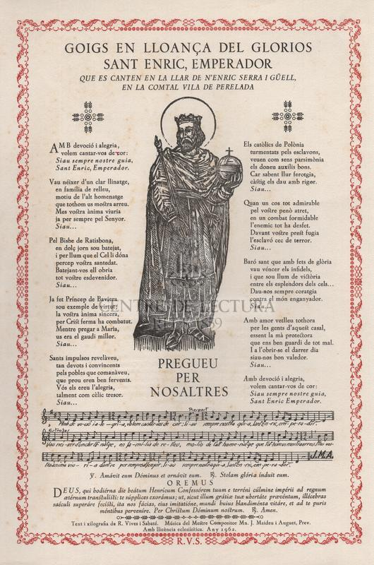 Goigs en lloança del gloriós Sant Enric, emperador que es canten en la llar de n'Enric Serra i Güell, en la comtal vila de Perelada