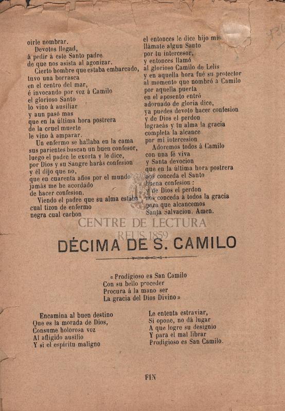 Oración al glorioso San Camilo de Lelis ; Alabanzas al Santo Ángel de la Guarda