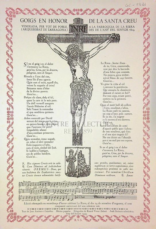 Goigs en honor de la Santa Creu venerada, per vot de poble, a la parroquia de la Riera (arquebisbat de Tarragona) des de l'any del senyor 1809