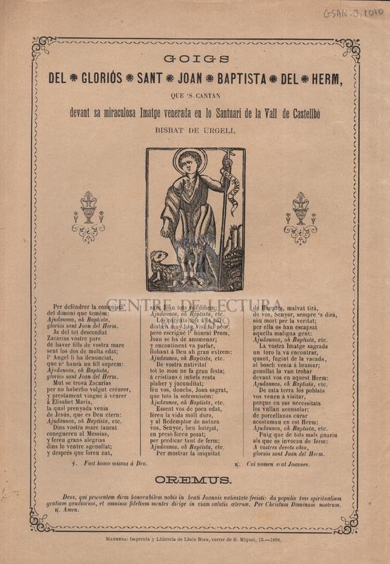 Goigs del gloriós sant Joan Baptista del Herm, que 's cantan devant sa miraculosa Imatge venerada en lo Santuari de la Vall de Castellbó Bisbat de Urgell