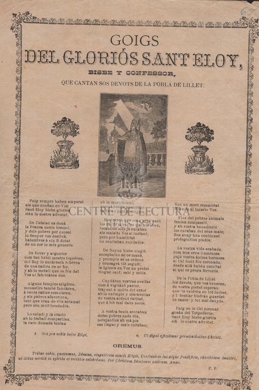 Goigs del gloriós Sant Eloy, bisbe y confessor, que cantan sos devots de La Pobla de Lillet