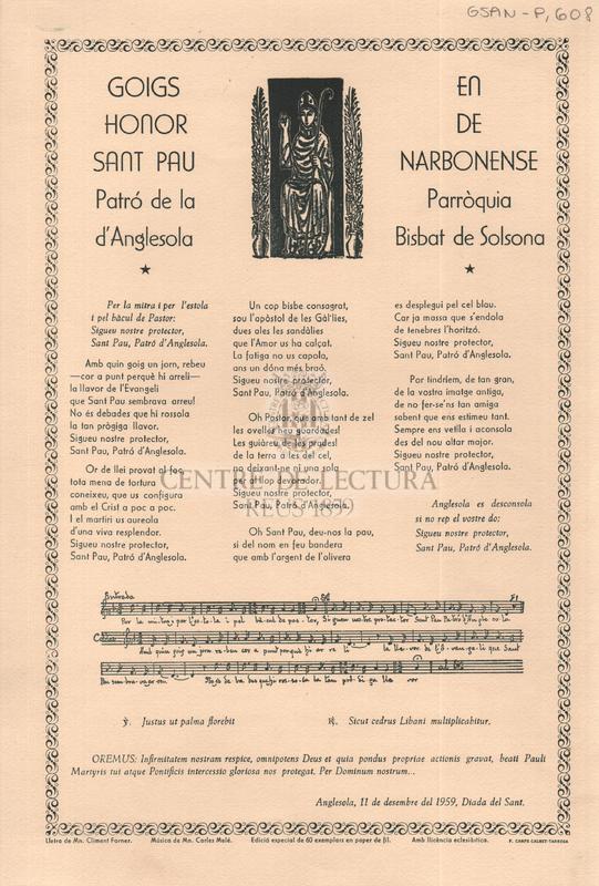 Goigs en honor de Sant Pau Narbonense, Patró de la Parròquia d'Anglesola Bisbat de Solsona